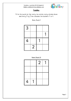Sudoku 9 to 12 (easier)