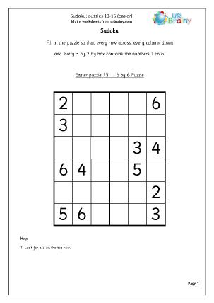 Sudoku 13 to 16 (easier)