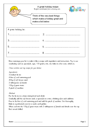 Preview of worksheet A great holiday recipe