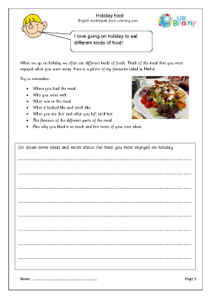 Preview of worksheet Holiday food