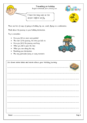 Preview of worksheet Holiday travel