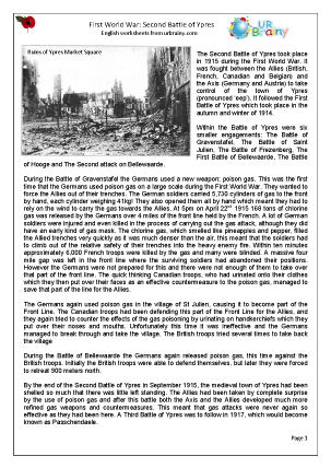 Preview of worksheet The Second Battle of Ypres