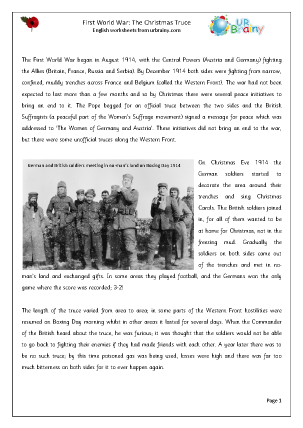 Preview of worksheet First World War: The Christmas Truce