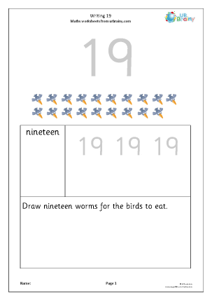 writing the number 19 reading and writing numbers maths worksheets for year 1 age 5 6. Black Bedroom Furniture Sets. Home Design Ideas