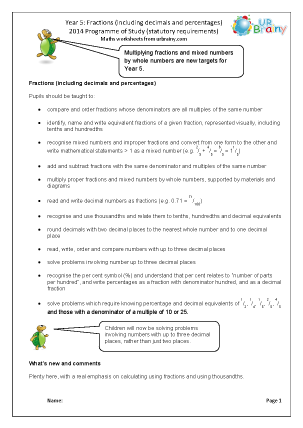 Preview of worksheet Year 5 Fractions