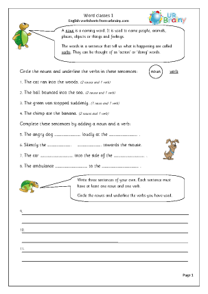 Preview of worksheet Word classes (1)