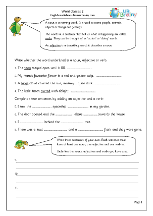 Preview of worksheet Word classes (2)