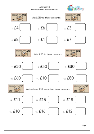 Preview of worksheet Add £10