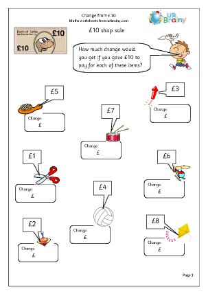 Preview of worksheet Change from £10