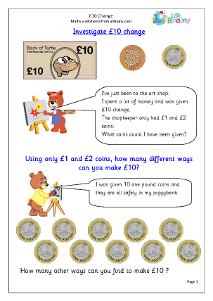 Preview of worksheet £10 Change: Investigate