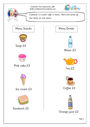 Preview of worksheet Using whole pounds in the cafe.