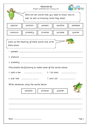 Word list 8 (years 3-4)