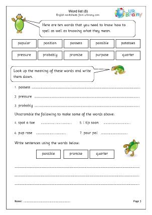 Word list 8 (years 3-4)