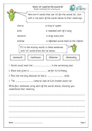 Preview of worksheet more ch used for the k sound