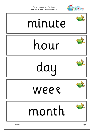 Preview of worksheet Time vocabulary