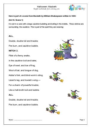 Preview of worksheet Halloween: Macbeth