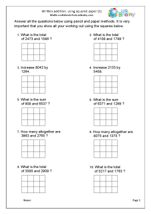 Preview of worksheet Written addition with squared paper (1)