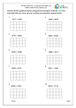 Preview of worksheet Written addition with squared paper (2)