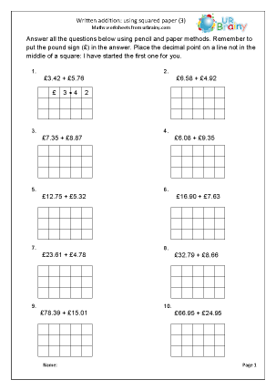 Written addition with squared paper (3)
