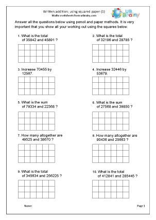Written addition with squared paper (1)