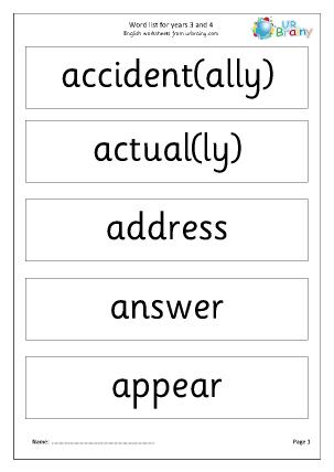 Word list years 3-4 display