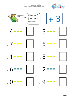 Preview of worksheet Count on 3, 4, 5 or 6