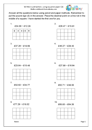 Preview of worksheet Written subtraction with squared paper 3