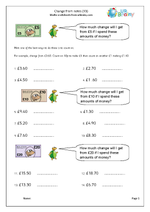 Preview of worksheet Change from notes