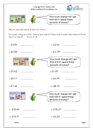 Preview of worksheet Money: change from notes