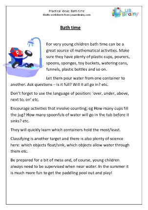 Preview of worksheet Maths at bathtime