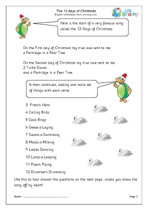 Preview of worksheet 12 days of Christmas