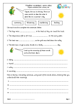 Weather vocabulary:  sunny skies
