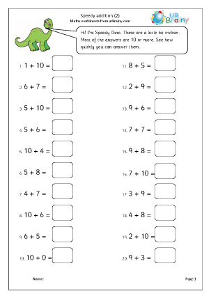 Speedy Addition (2) Addition Maths Worksheets For Year 2 (age 6-7)