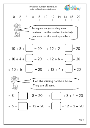 Preview of worksheet 3 even numbers to make 20