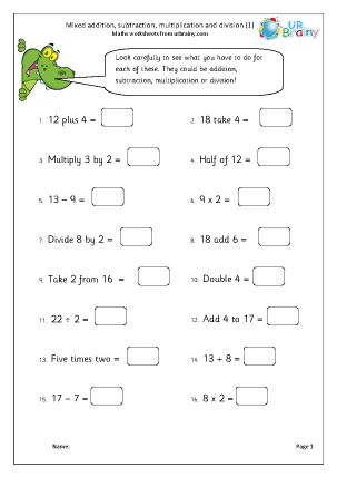 Preview of worksheet Mixed addition, subtraction, multiplication and division (1)