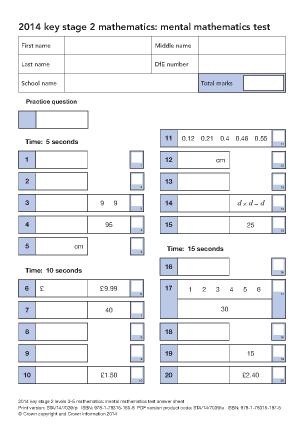 Preview of worksheet Maths Mental Arithmetic 2014