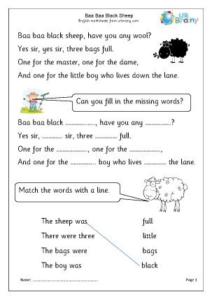 Preview of worksheet Baa Baa Black Sheep