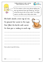 Putting sentences in order: cooking