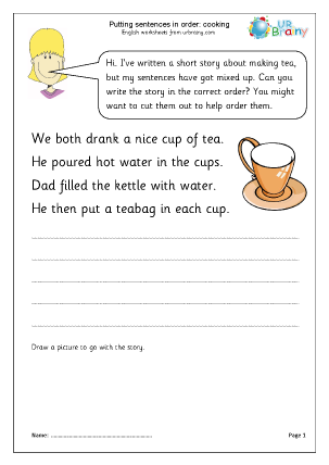 Preview of worksheet Putting sentences in order: cooking
