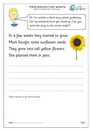 Putting sentences in order: gardening