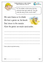 Putting sentences in order: holidays