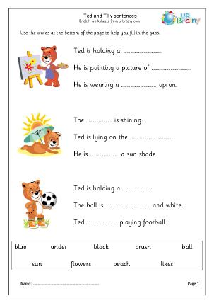 Preview of worksheet Teddy: Missing Words