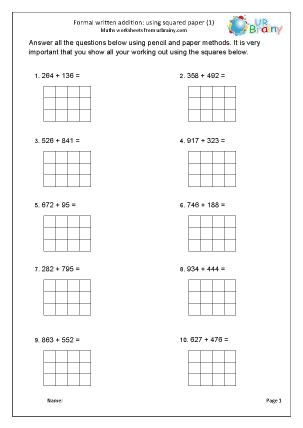 Preview of worksheet Formal addition with squared paper