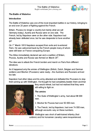 Preview of worksheet The Battle of Waterloo