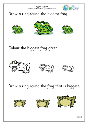 URBrainy Maths Worksheets Later Reception (age 4-5) Shape and Measures ...