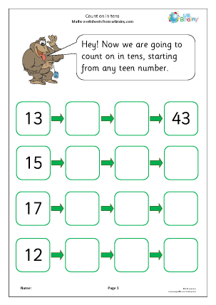 Preview of worksheet Count on in tens