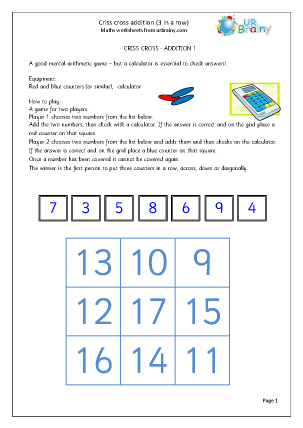 Preview of worksheet Criss Cross Addition
