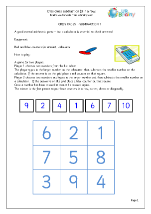 Preview of worksheet Criss Cross Subtraction
