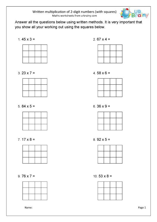 Preview of 'Formal multiplication 2 by 1 with squared paper'