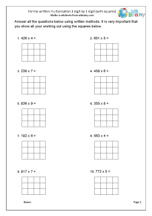 Preview of worksheet Formal multiplication 3 by 1 with squared paper